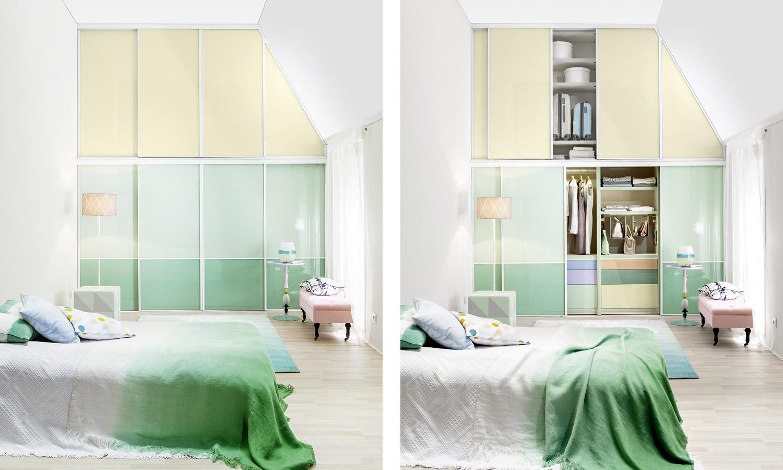 """Dachschrägenschrank in den Farben Glas """"Pastell-Grün"""" und Glas """"Pastell-Lichtgrün"""""""