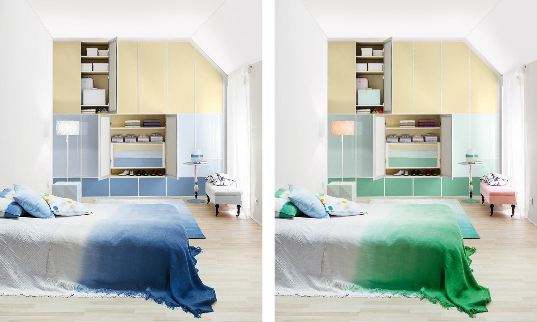 maßgefertigter Dachschrägenschrank in Farben nach Wunsch von CABINET