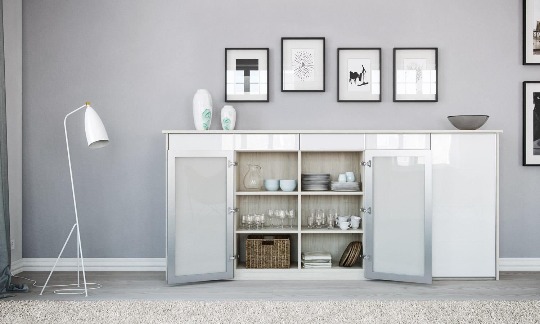 Modernes Sideboard nach Maß mit Türenfronten aus weißem Glas
